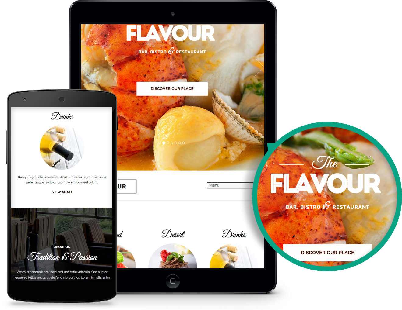 Responsive The Flavour WordPress Bistro Theme
