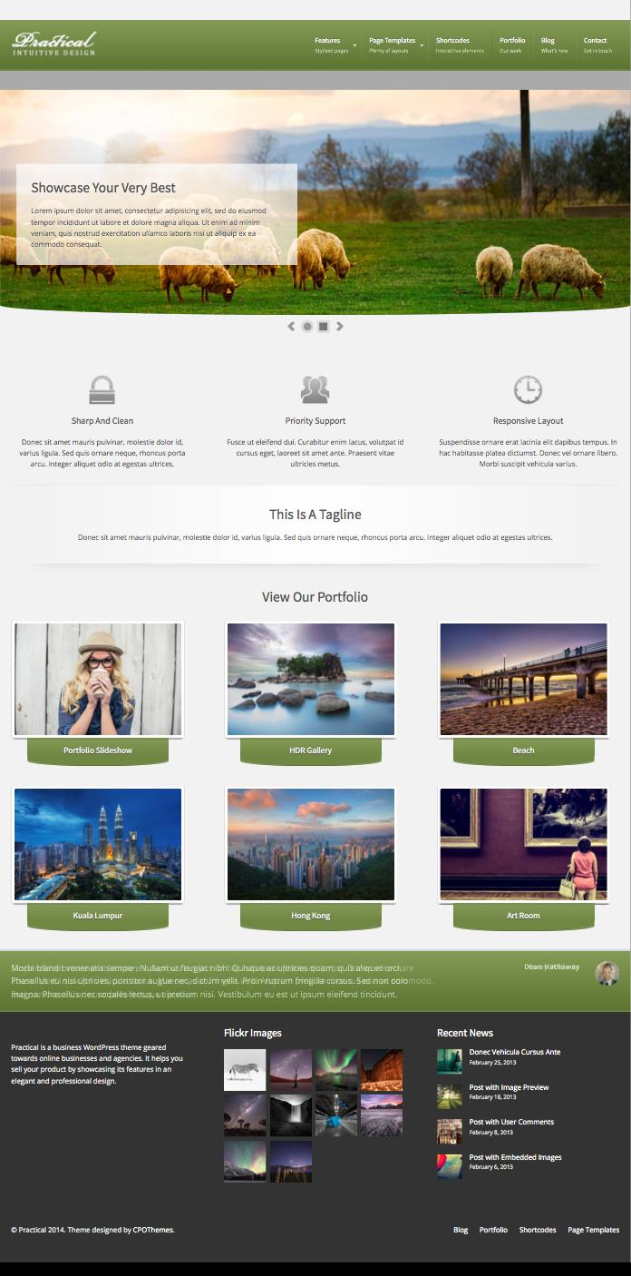 Practical Responsive WordPress Business Theme