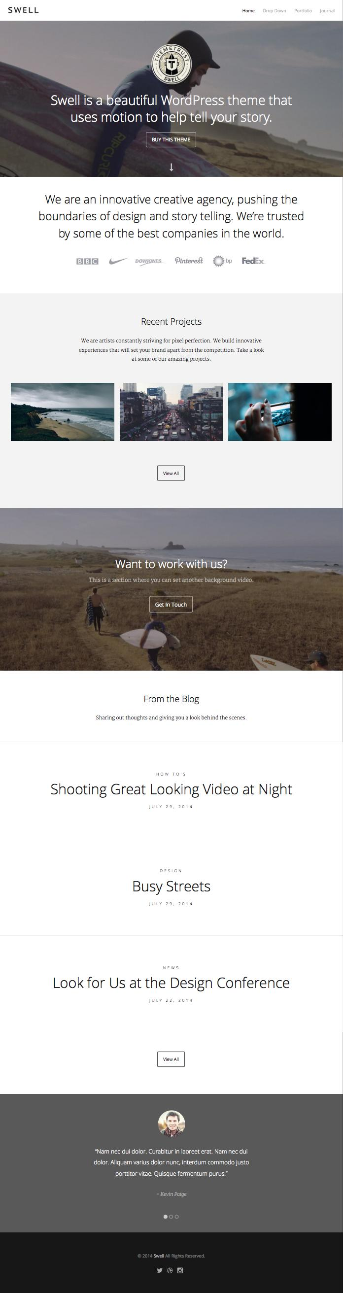 Swell WordPress Background Video Portfolio Theme