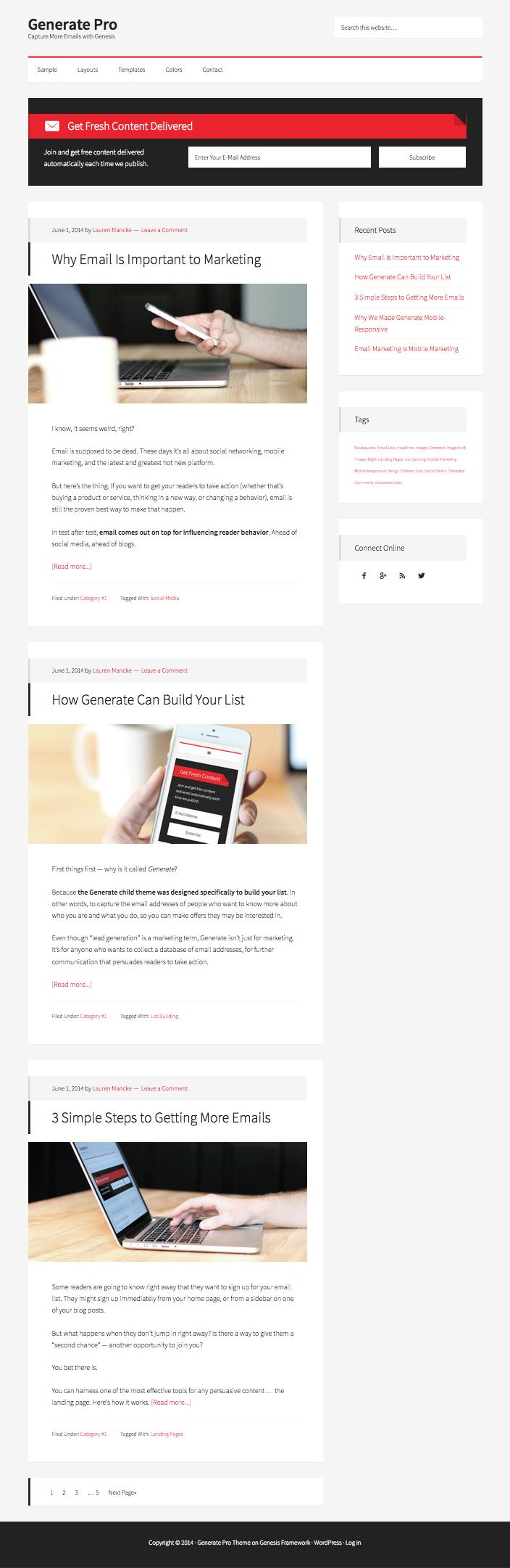 Generate Pro WordPress Email Marketing Theme