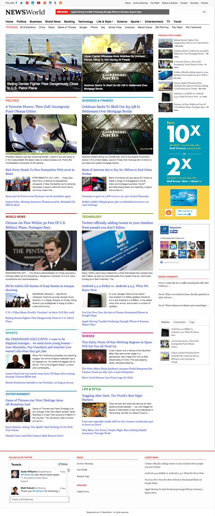 NewsWorld Responsive WordPress Magazine Theme