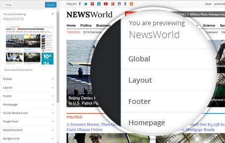 NewsWorld WordPress News Realtime Customizer