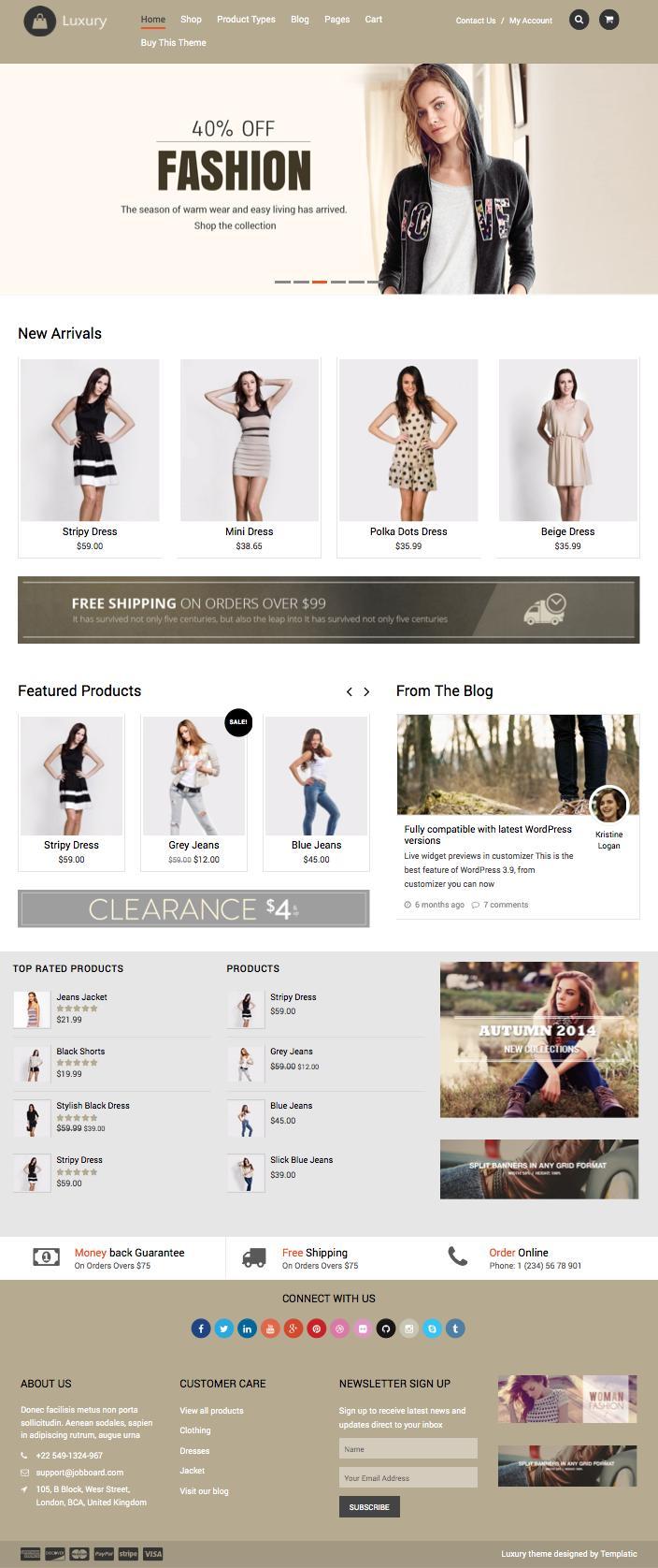Luxury Responsive WordPress Online Store Theme