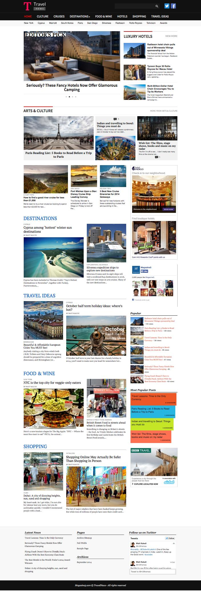 TravelNews Theme for Travel Portals / Journalists / Bloggers