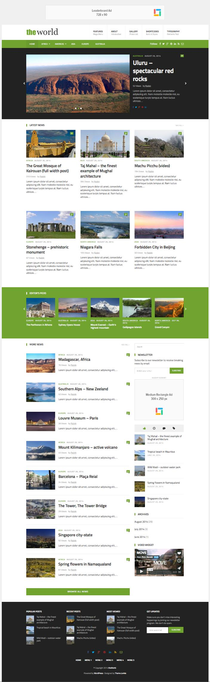 theWorld WordPress News Theme