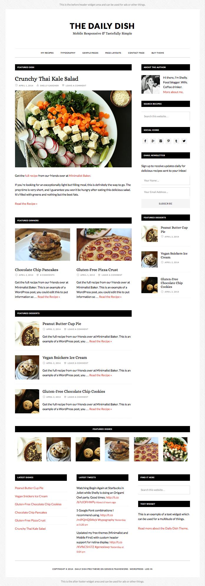 Daily Dish Pro WordPress Foodie Blogger Theme