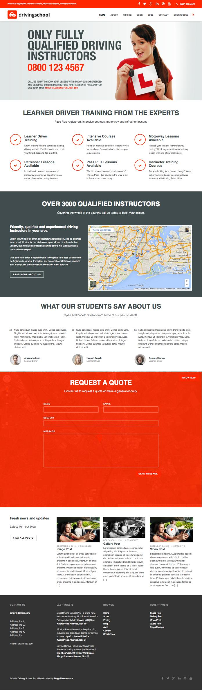 Driving School Pro WordPress Driver Instructors Theme