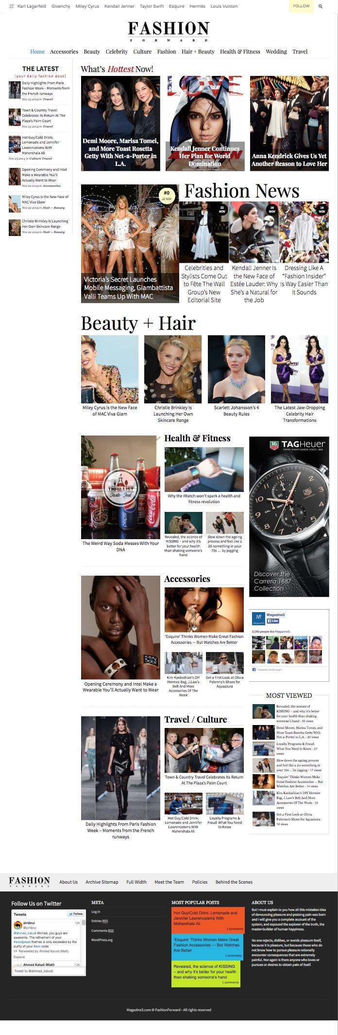 FashionForward WordPress Beauty & Celebrity Theme