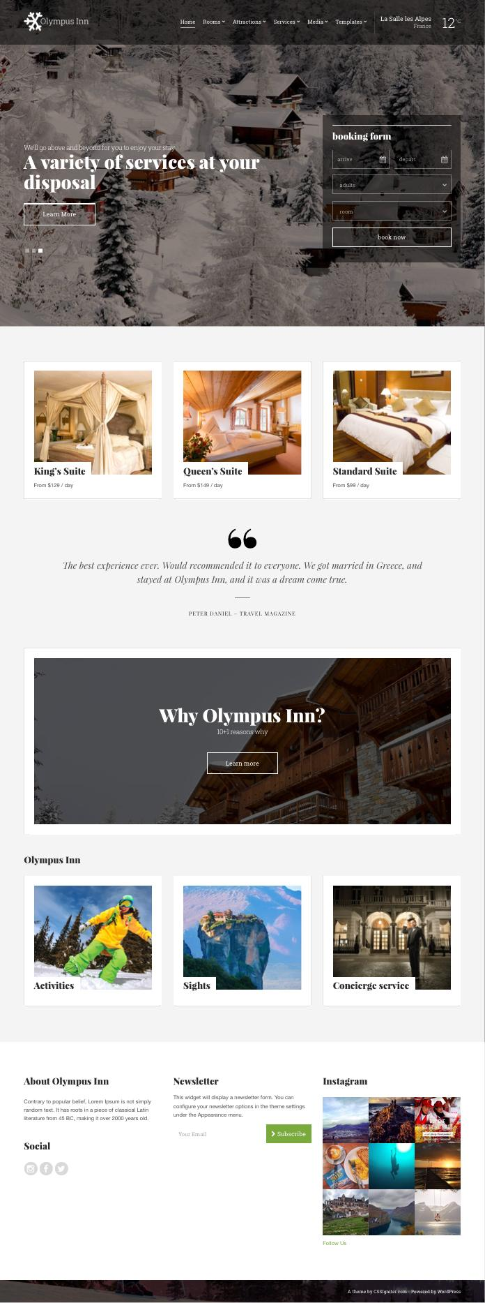 Olympus Inn WordPress Resort Hotel Theme