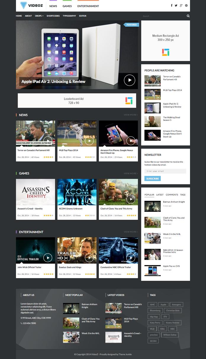 VideoZ WordPress Video Podcast Review Theme