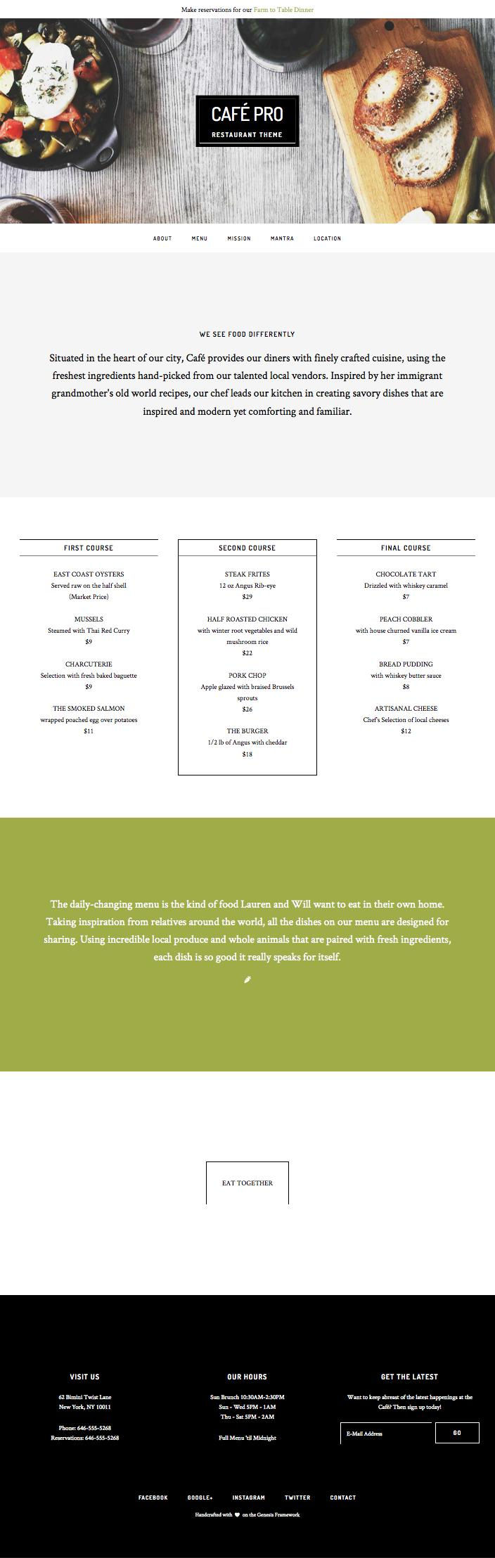 Café Pro WordPress Restaurants Theme
