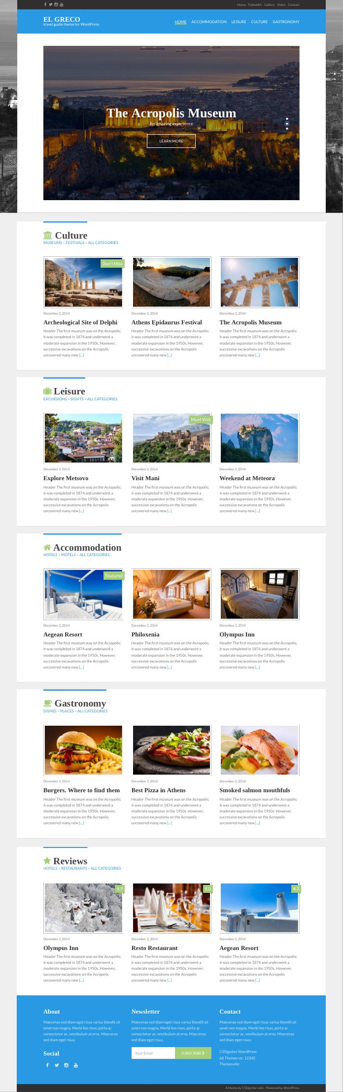 El Greco WordPress Travel Guide Theme