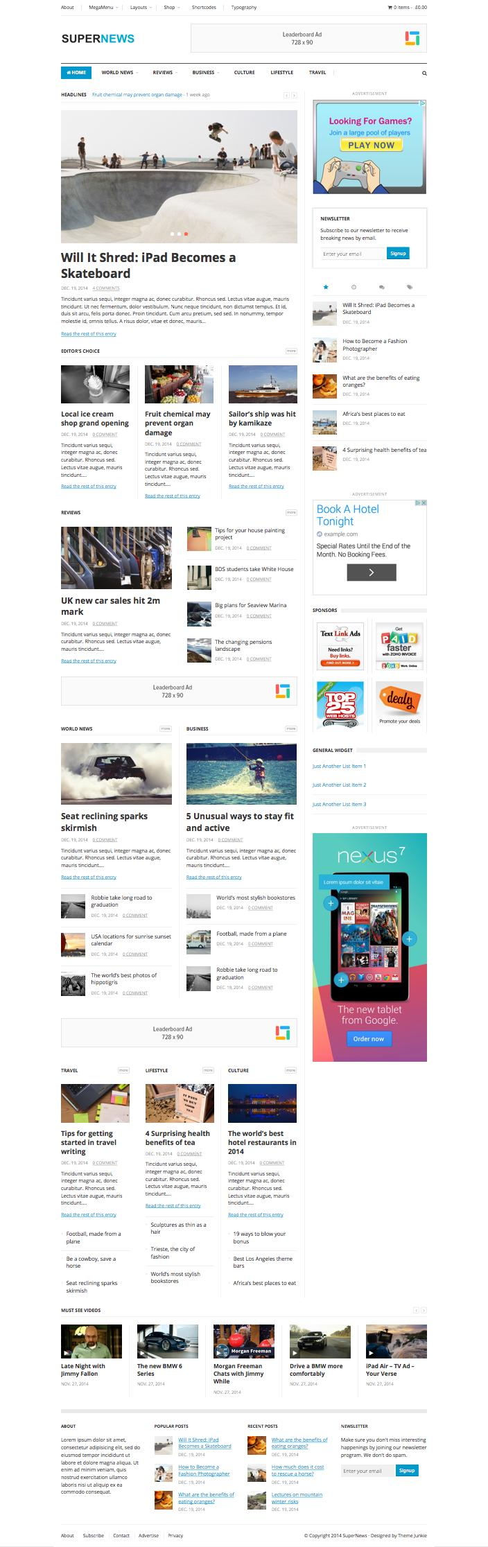SuperNews WordPress Multipurpose eCommerce Theme