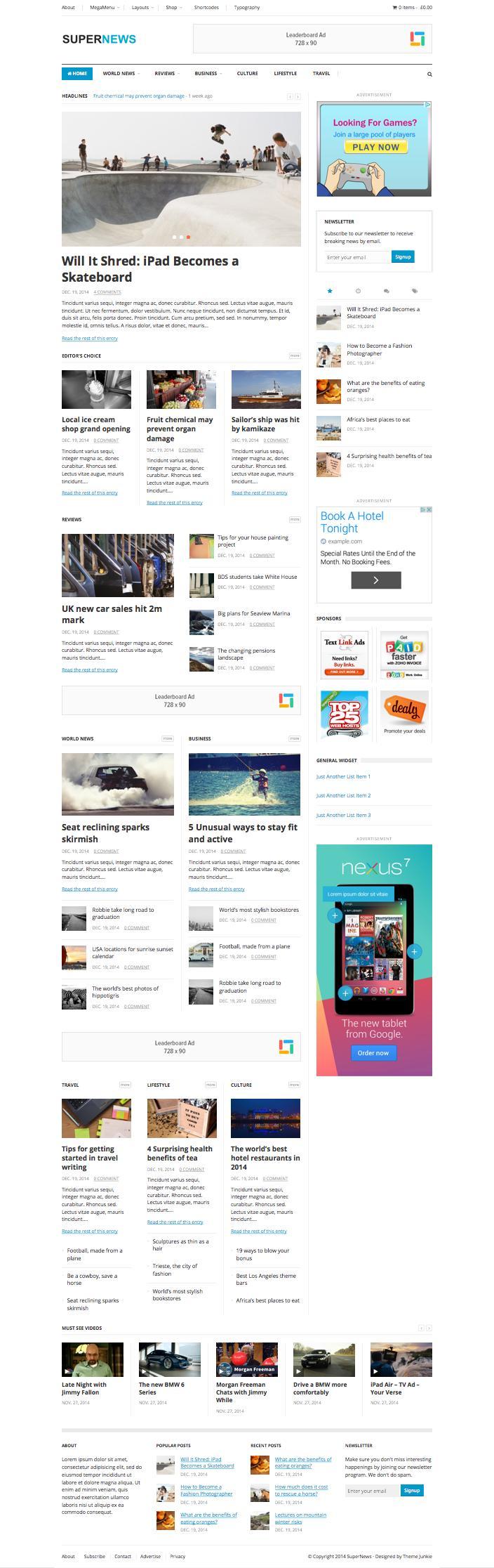 SuperNews WordPress Multipurpose eCommerce Theme