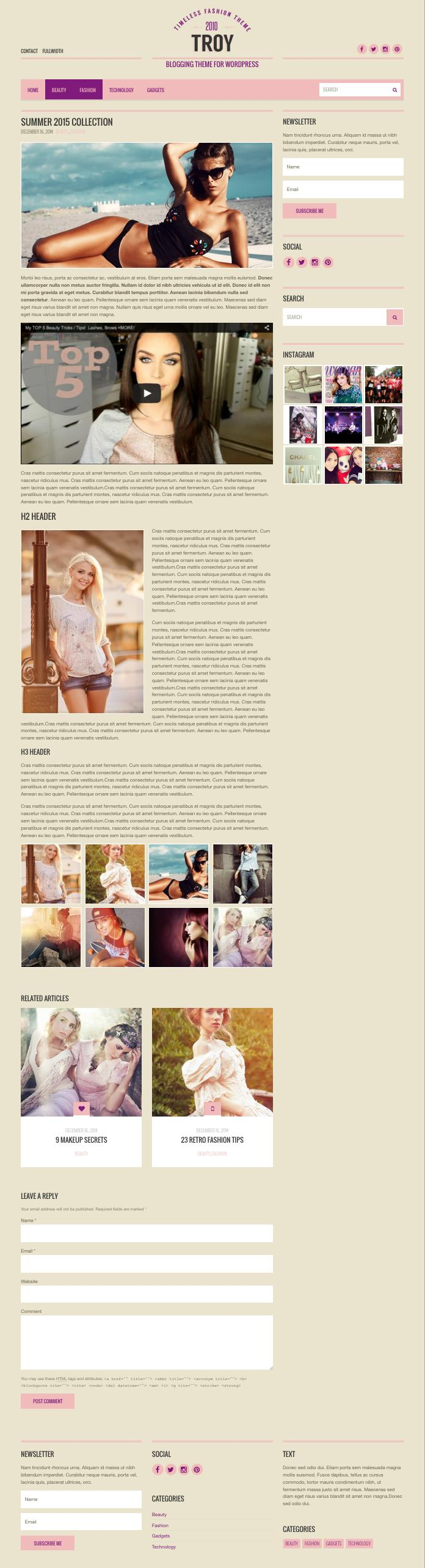Troy WordPress Blogging Theme