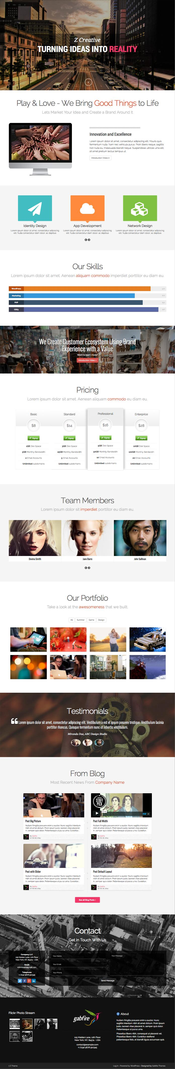 Z One Pager WordPress Parallax Effect Template