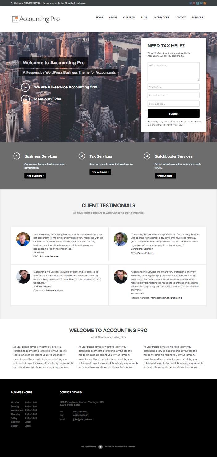 Accounting Pro WordPress Accountants Theme