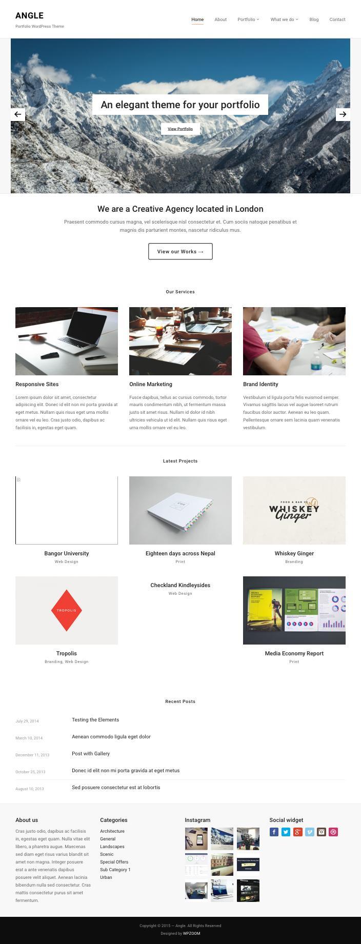 Angle WordPress Portfolio Module Theme