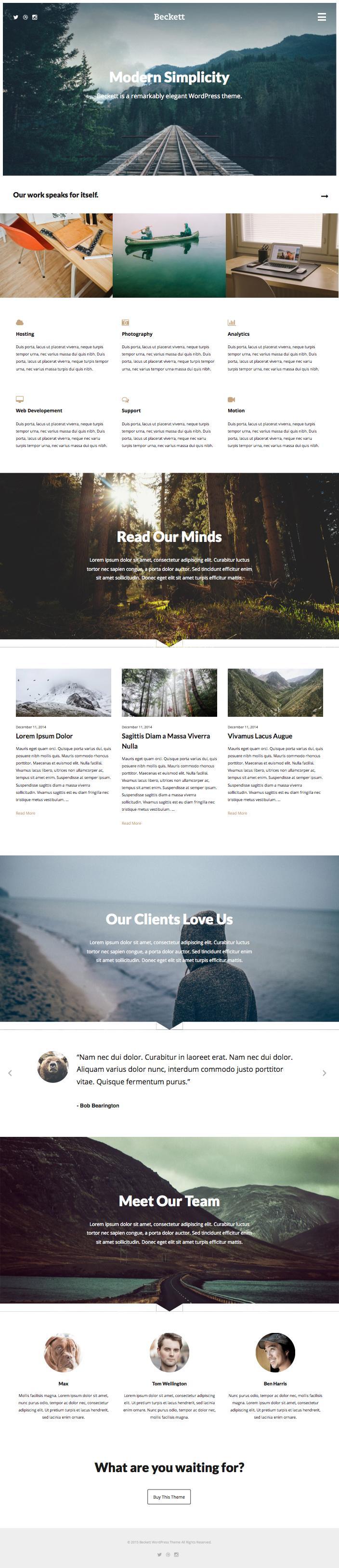 Beckett WordPress Modern Portfolio Theme
