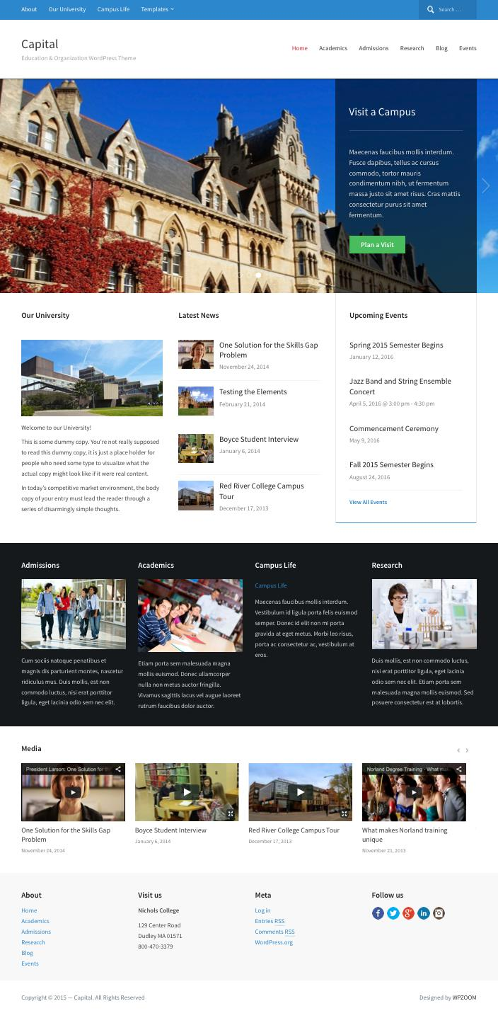 Capital WordPress Education or University Theme