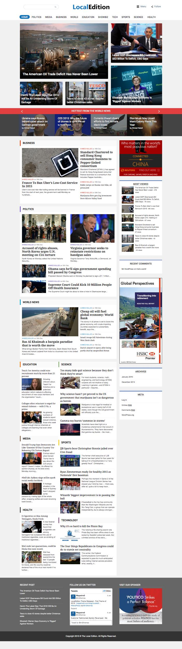 LocalEdition WordPress Modern Newspaper Theme 2015