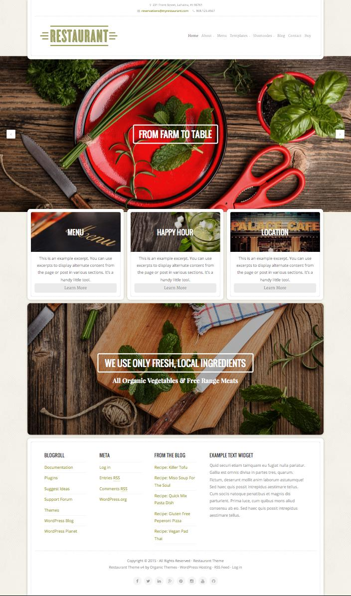 Restaurant WordPress Food Blogger Theme