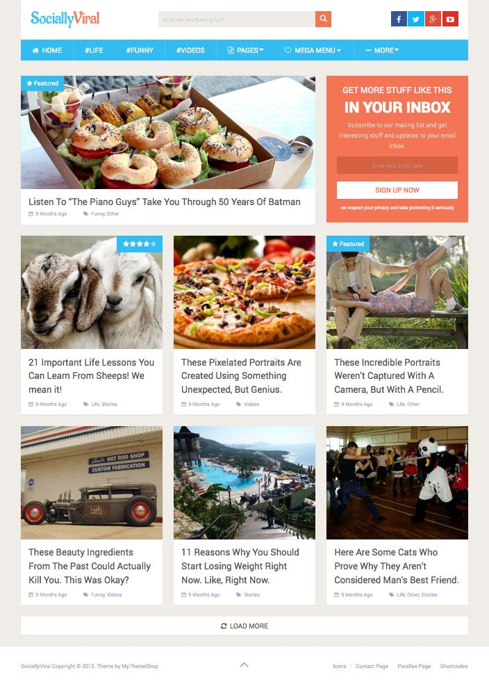 SociallyViral WordPress Responsive Social Sharing Theme