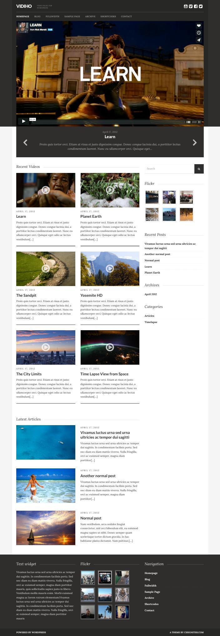 Vidiho WordPress Video Blogging Theme