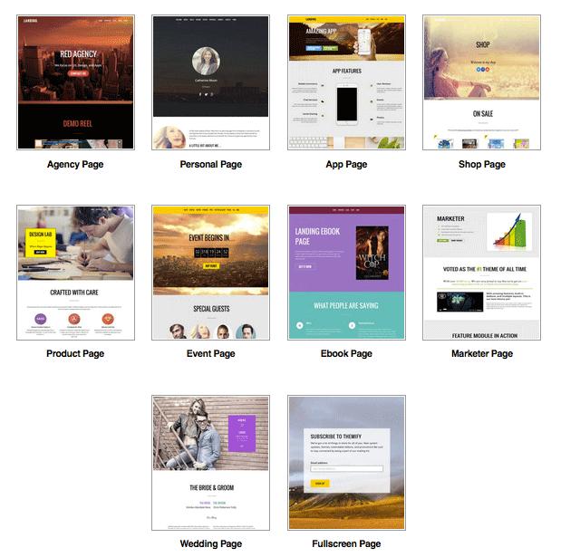 10 Landing Layouts WordPress Theme