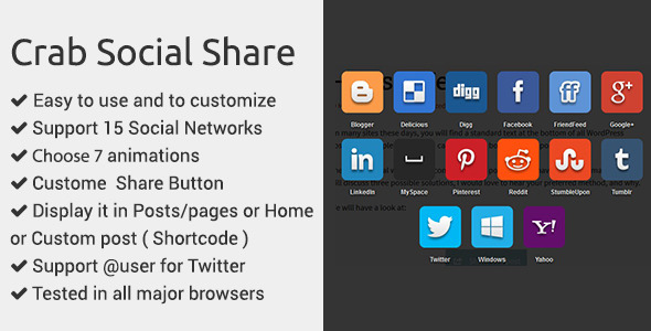 Crab Social Share WP Plugin