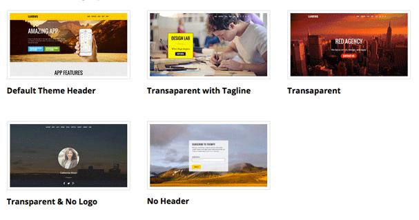 Header Design Options landing theme