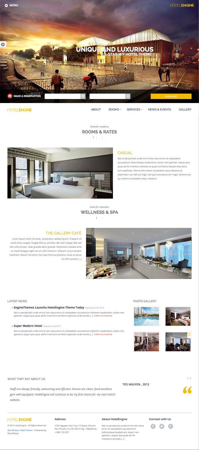 HotelEngine Classy 5 Star Luxury Hotel Theme