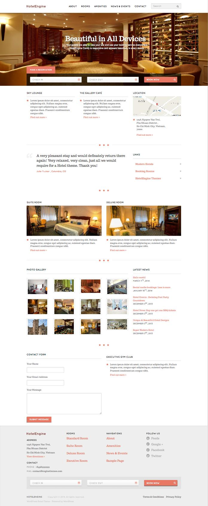 HotelEngine Comfy WordPress Hotel Booking Theme