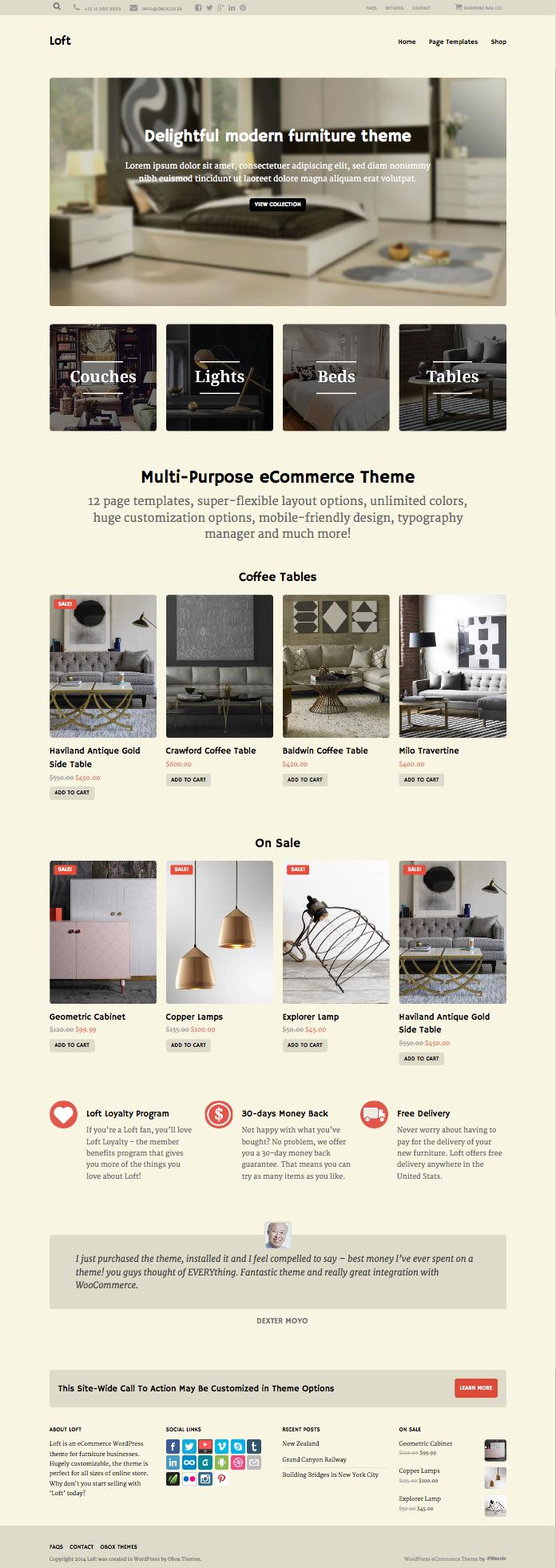 Loft Responsive WordPress Furniture Store Theme