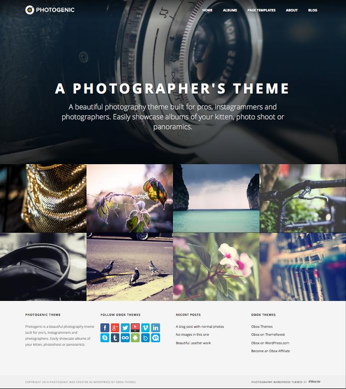 Photogenic WordPress Photographers or instagrammer Theme