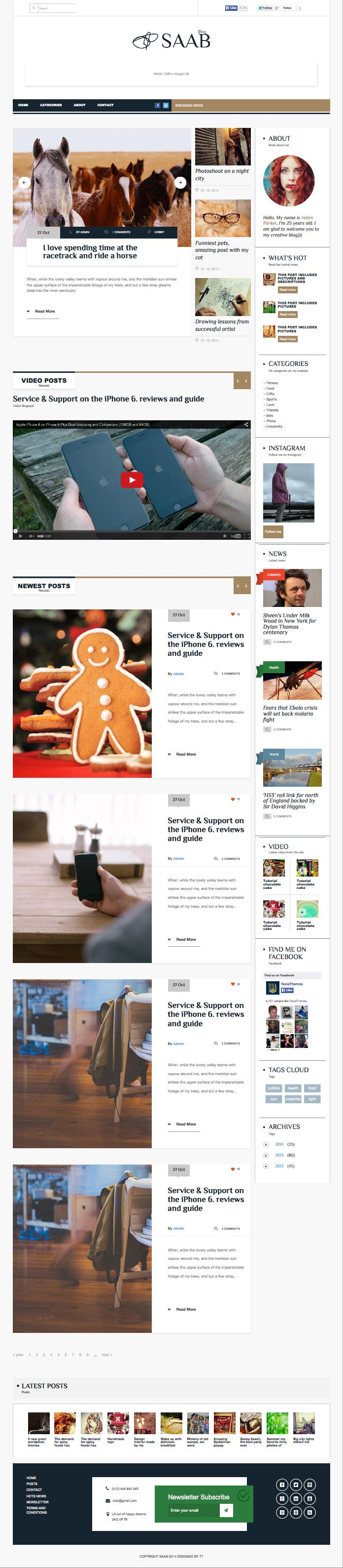 Saab WordPress Bold Typography Magazine Theme