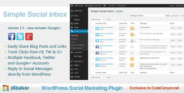 Simple Social Inbox WP Plugin