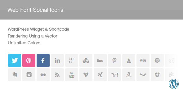 Web Font Social Icons Widget Shortcode Plugin