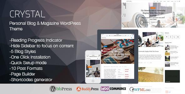 Crystal Personal Blog WordPress Theme