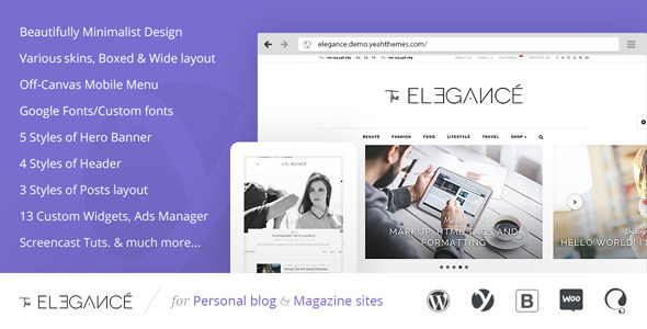 Elegance Minimalist Blogging WordPress Theme