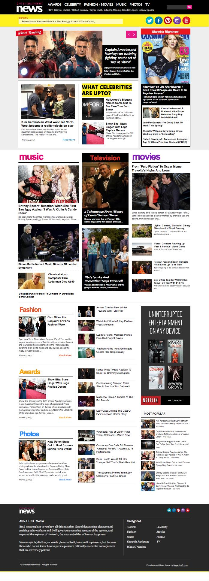 EntertainmentNews WordPress Celebrity Gossip Theme