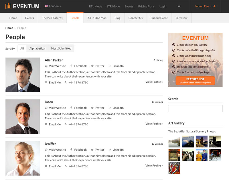 Eventum WordPress-Theme - Registered Users Page