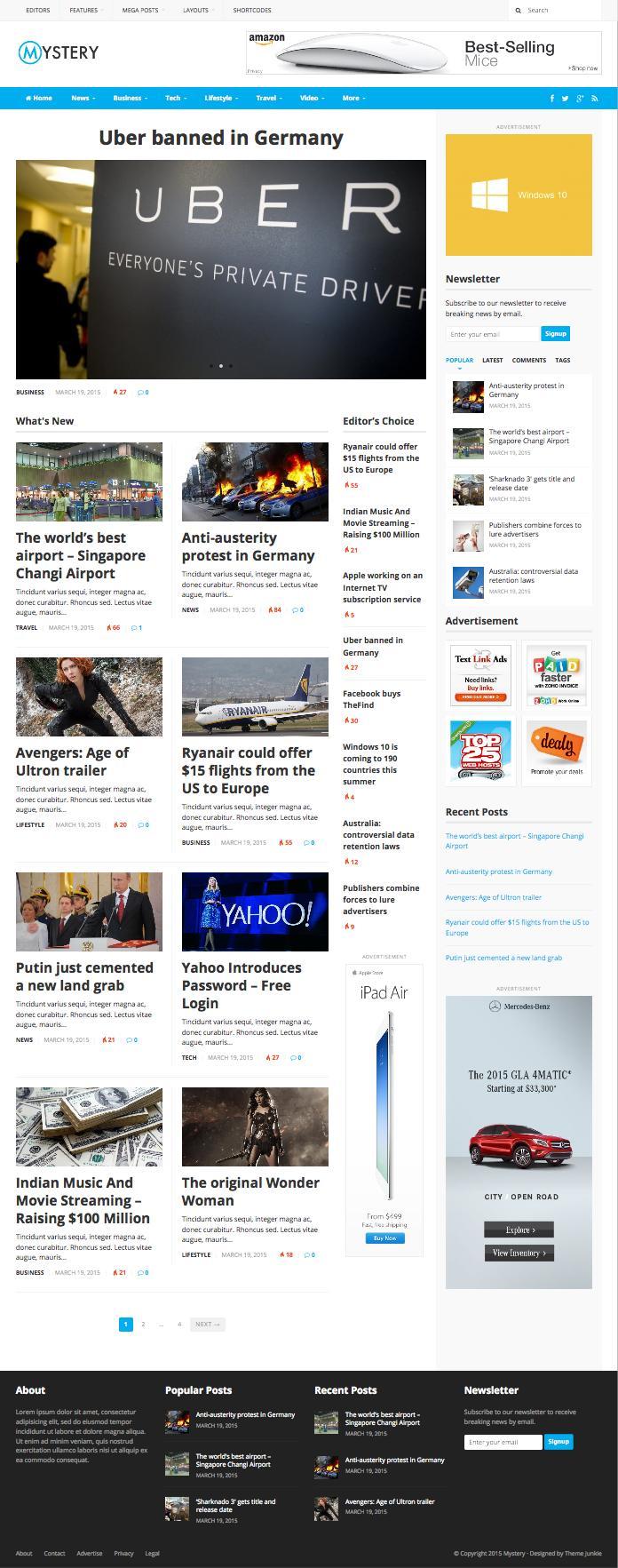 Mystery WordPress Newspaper or Magazine Theme
