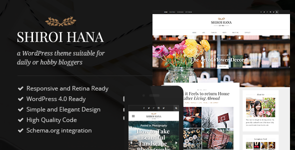 Shiroi Hana WordPress Hobby Bloggers Theme