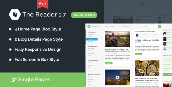The Reader WordPress Blog Template like Smashing Magazine