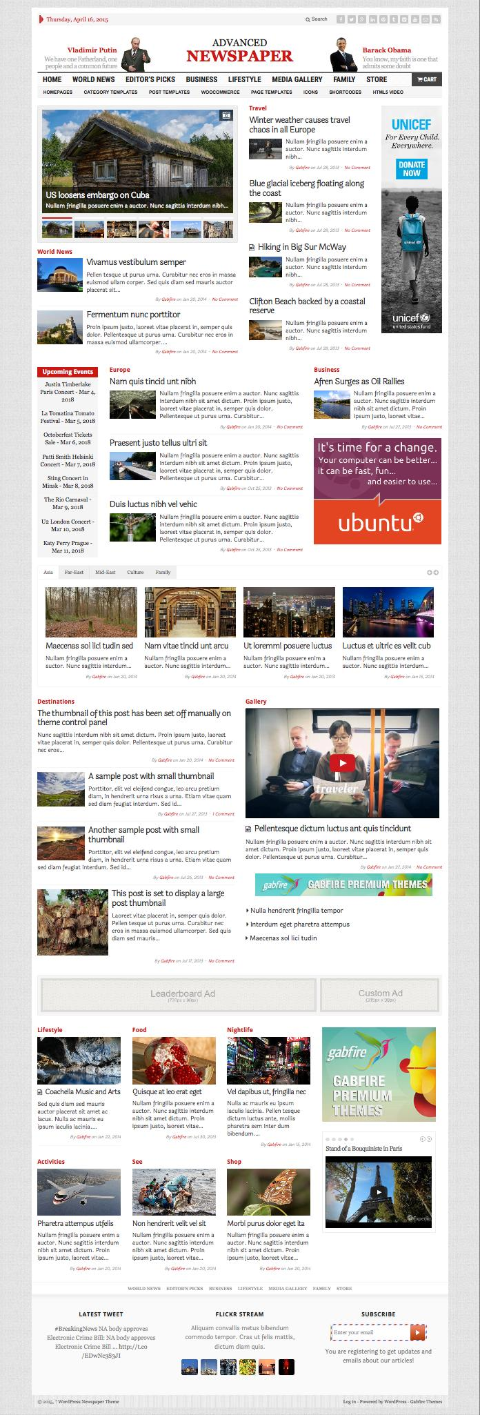 Advanced Newspaper WordPress Theme