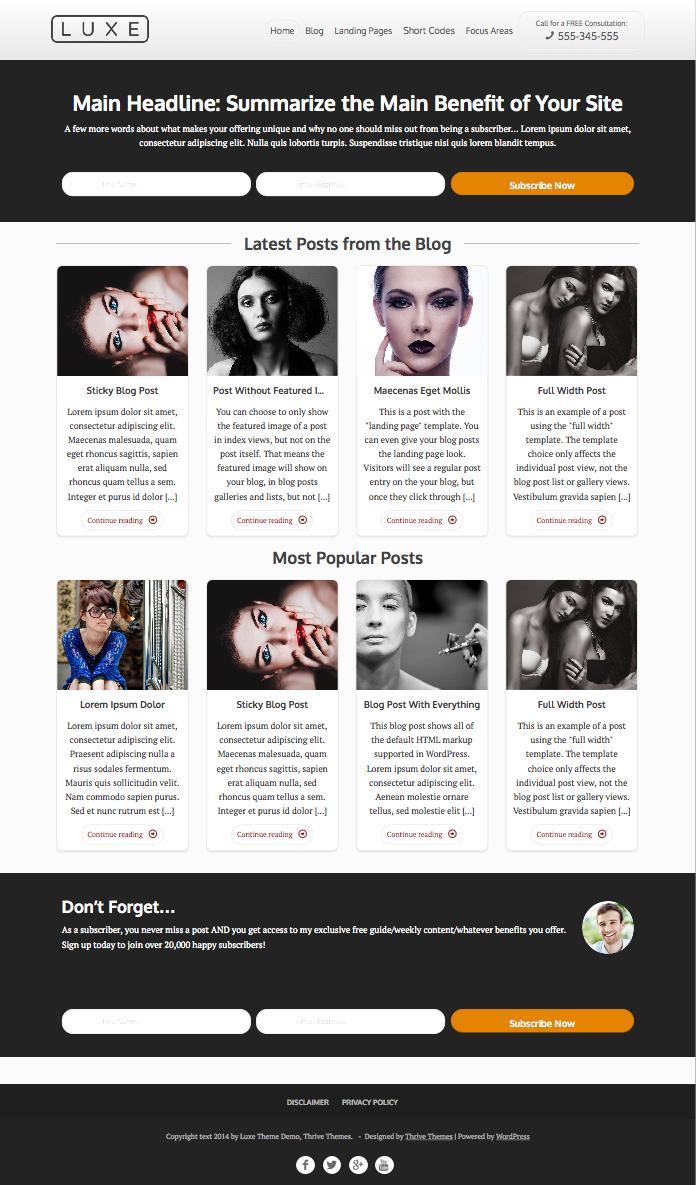 Luxe WordPress Marketing Blog Theme