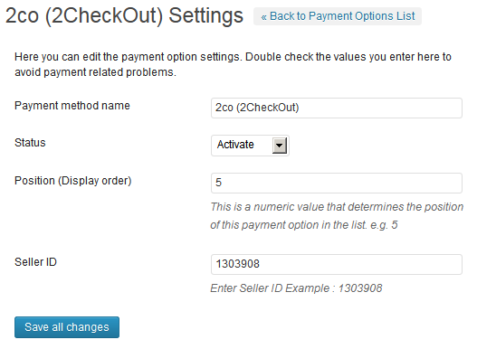 2Checkout Payment Gateway WP Plugin