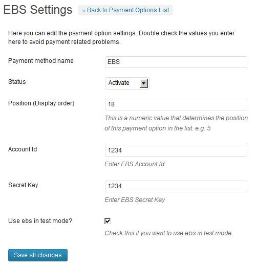 EBS Payment Gateway WP Plugin
