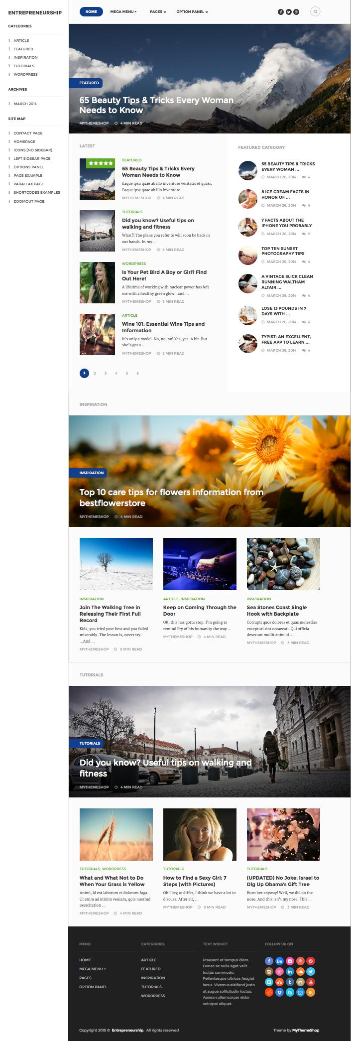 Entrepreneurship WordPress SEO Optimized Magazine Theme